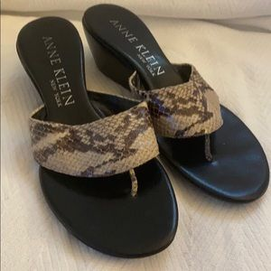 Anne Klein Python Wedge Sandals